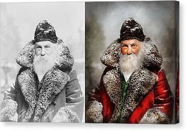 Christmas - Santa - Saint Nicholas 1895 - Side By Side Canvas Print by Mike Savad