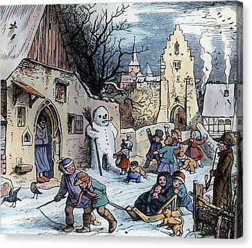 Christmas Scene Canvas Print by German School