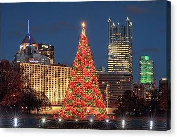 Canvas Print featuring the photograph Christmas  Season In Pittsburgh  by Emmanuel Panagiotakis