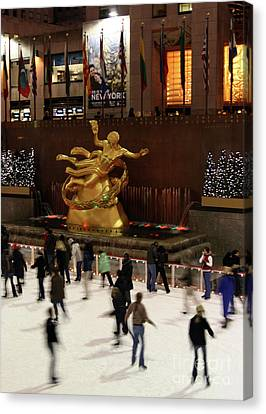 Christmas Skating Ny Style Canvas Print by Karol Livote
