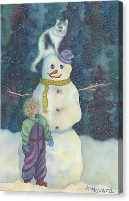 Christmas Snowman Canvas Print by Anne Havard