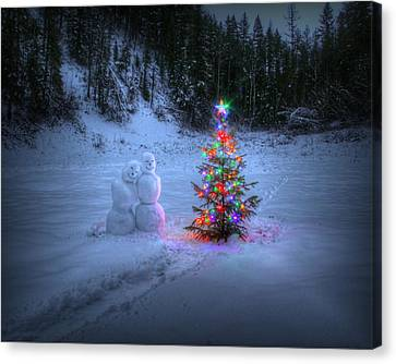 Snow Covered Trees Canvas Print - Christmas Spirit At Grouse Creek by Robert Hosea