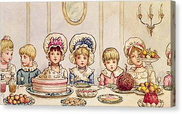 Christmas Supper Canvas Print by Kate Greenaway