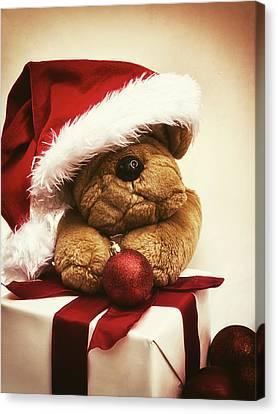 Christmas Teddy Bear Canvas Print by Wim Lanclus