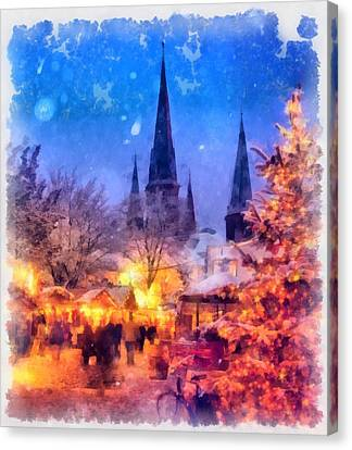 Christmas Town Canvas Print by Esoterica Art Agency