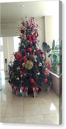 Christmas Tree At Moody Gardens Hotel Canvas Print