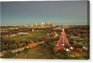 Christmas Tree In Austin Canvas Print by Andrew Nourse