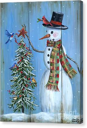 Snow Scene Canvas Print - Christmas Tree Magic by Marilyn Dunlap