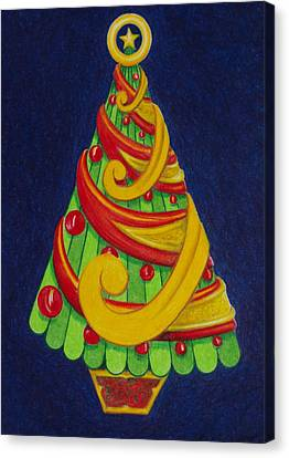 Canvas Print featuring the drawing Christmas Tree No. Three by Rick Ahlvers
