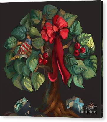 Christmas Tree Of Life Canvas Print by Carrie Joy Byrnes