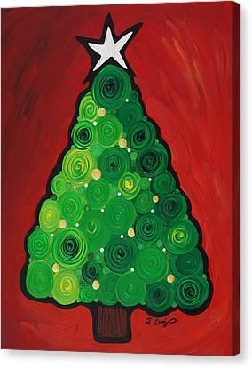 Christmas Tree Twinkle Canvas Print by Sharon Cummings