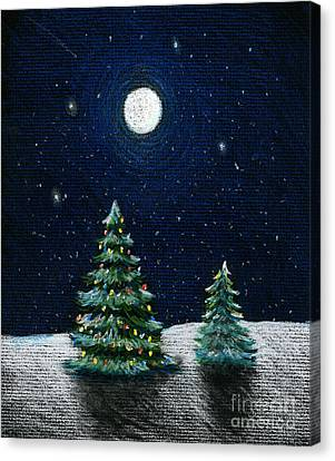 Christmas Trees In The Moonlight Canvas Print by Nancy Mueller