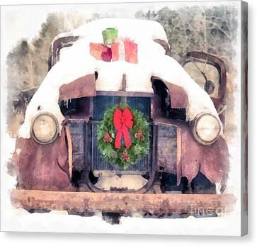 Christmas Truck Canvas Print by Edward Fielding