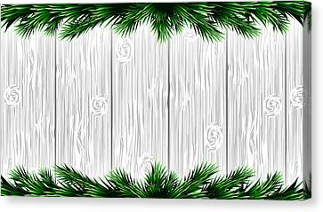 Christmas White Wooden Background With Green Fir Branches. Vector Illustration Canvas Print