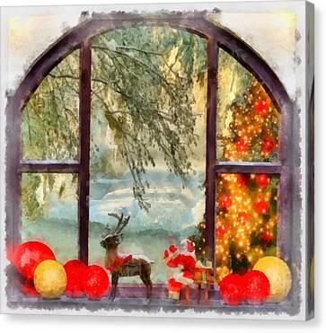 Nativity Canvas Print - Christmas Window by Esoterica Art Agency