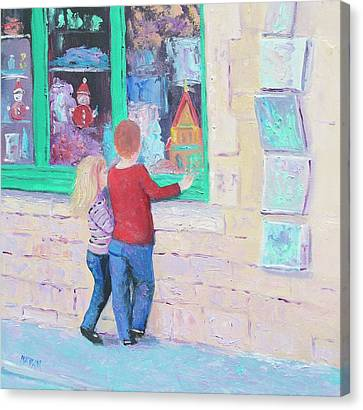 Christmas Window Shopping Canvas Print