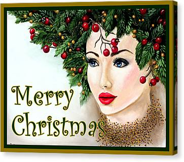 Christmas Woman-green/gold Canvas Print by Pechez Sepehri