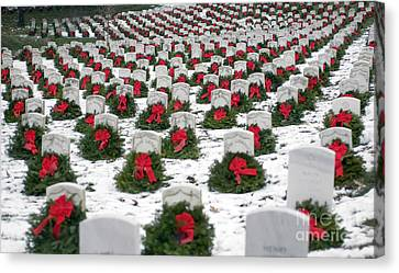Arlington National Cemetery Canvas Print - Christmas Wreaths Adorn Headstones by Stocktrek Images