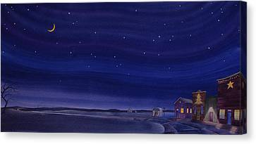 Canvas Print featuring the painting Christmastime In Prairie Town by Scott Kirby