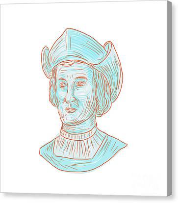 Genoa Canvas Print - Christopher Colombus Explorer Bust Drawing by Aloysius Patrimonio