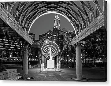 Christopher Columbus Park Boston Ma Trellis Statue Black And White Canvas Print by Toby McGuire