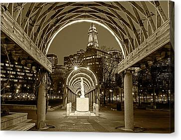 Christopher Columbus Park Boston Ma Trellis Statue Sepia Canvas Print by Toby McGuire