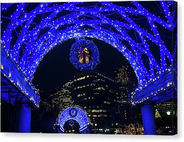 Christopher Columbus Park Trellis Lit Up For Christmas Boston Ma Canvas Print by Toby McGuire