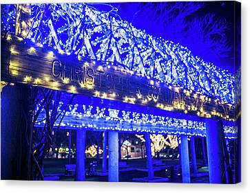 Christopher Columbus Park Trellis Lit Up For Christmas Boston Ma Xmas Canvas Print by Toby McGuire
