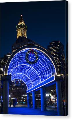 Christopher Columbus Park Trellis Lit Up In Blue For Christmas Boston Ma Canvas Print