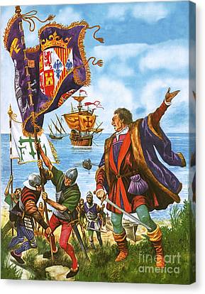 Christopher Columbus Planting The Spanish Royal Standard On The Newly Found Land Of America Canvas Print