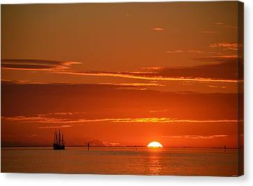 Christopher Columbus Replica Wooden Sailing Ship Nina Sails Off Into The Sunset Canvas Print