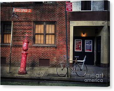 Christopher St. Bicycle Canvas Print by Craig J Satterlee