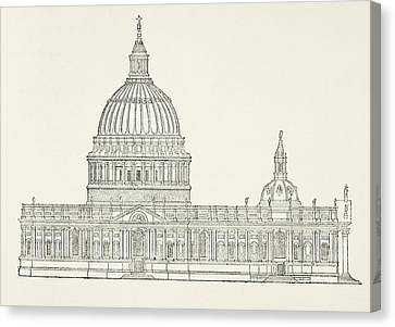 Christopher Wren S First Design For The Canvas Print by Vintage Design Pics