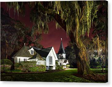 Christ's Church At Sunset Canvas Print by Debra and Dave Vanderlaan