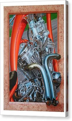 Chrome Chopper Canvas Print by Terry Stephens
