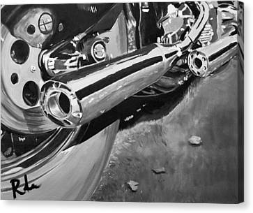 Chrome Pipes Bw Canvas Print