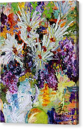 Canvas Print featuring the painting Chrysanthemums And Lilacs Still Life by Ginette Callaway
