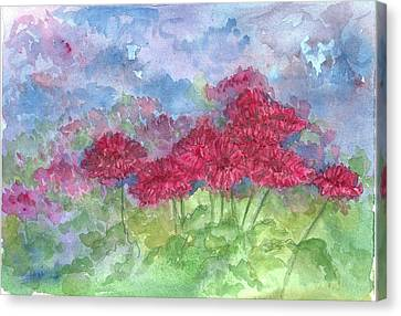 Canvas Print featuring the painting Chrysanthemums by Cathie Richardson
