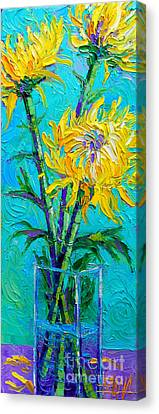 Chrysanthemums In A Vase Canvas Print by Mona Edulesco