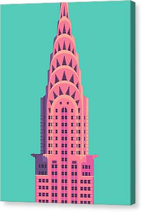 Chrysler Building - Green Canvas Print by Ivan Krpan