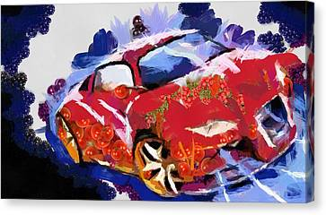 Canvas Print featuring the painting Chubby Car Red by Catherine Lott