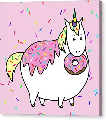 Donuts Canvas Print - Chubby Unicorn Eating Sprinkle Doughnut by Crista Forest