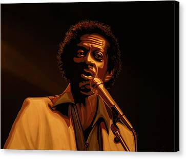 Gibson Guitar Canvas Print -  Chuck Berry Gold by Paul Meijering