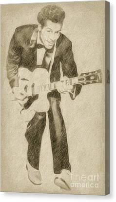 Noir Canvas Print - Chuck Berry, Rock N Roll Star by Frank Falcon