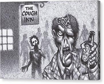 Biro Art Canvas Print - Chuckin' Out Time At The Cough Inn Pub by Hermit