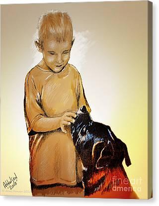 Chuey And Me II Canvas Print by Arne Hansen