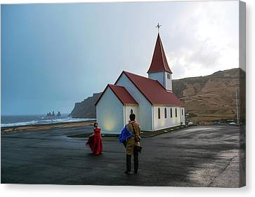Canvas Print featuring the photograph Church Above Reynisfjara Black Sand Beach, Iceland by Dubi Roman
