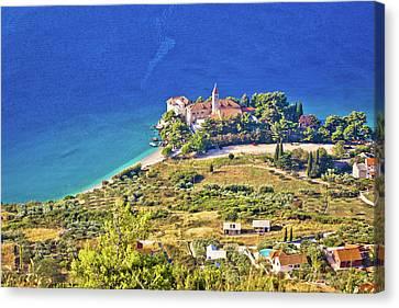 Church And Beach In Bol Aerial View Canvas Print