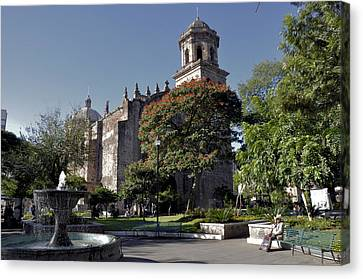 Canvas Print featuring the photograph Church And Fountain Guadalajara by Jim Walls PhotoArtist