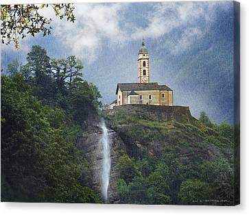 Church And Waterfall In Italy Canvas Print